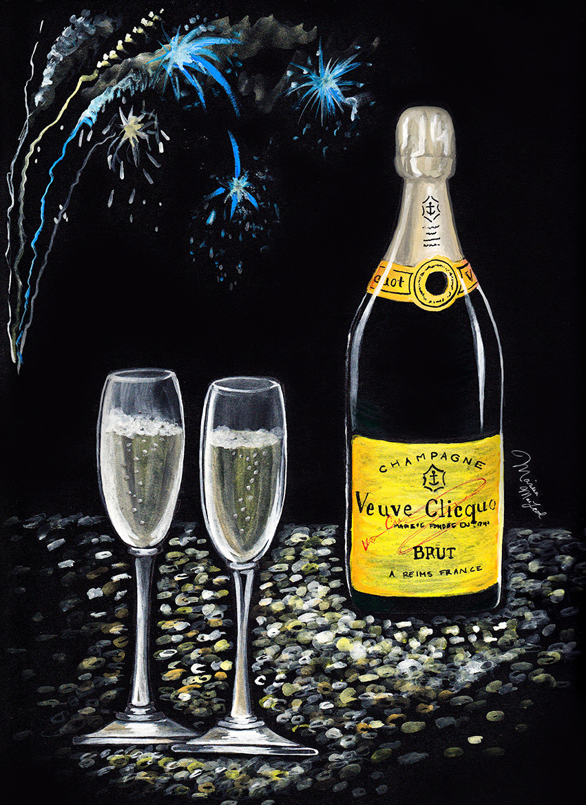 New Years Eve Champagne by Dally Creativity Co. Artist Marissa MacLeod