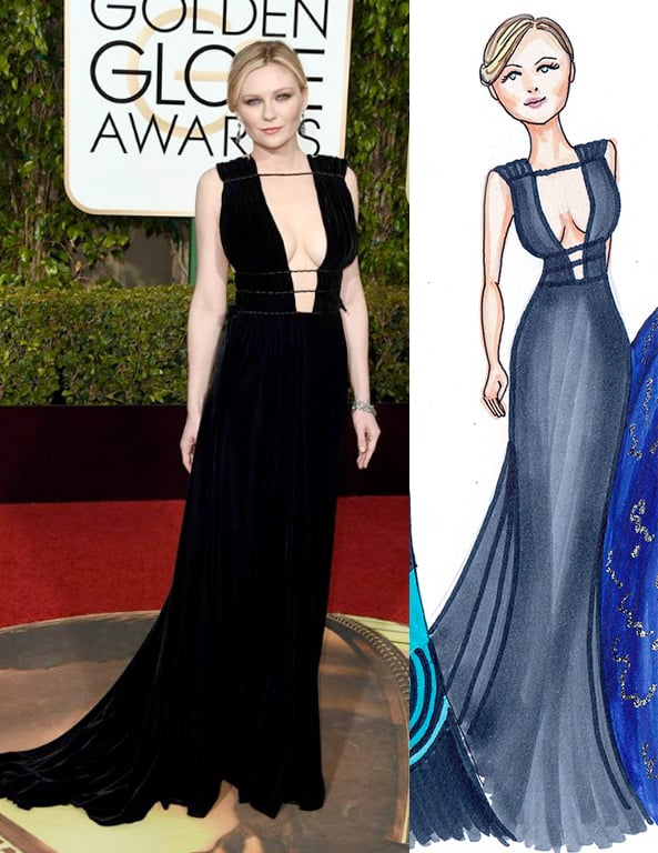 Kirsten Dunst Golden Globes by Dally Creativity Co. Artist Marissa MacLeod