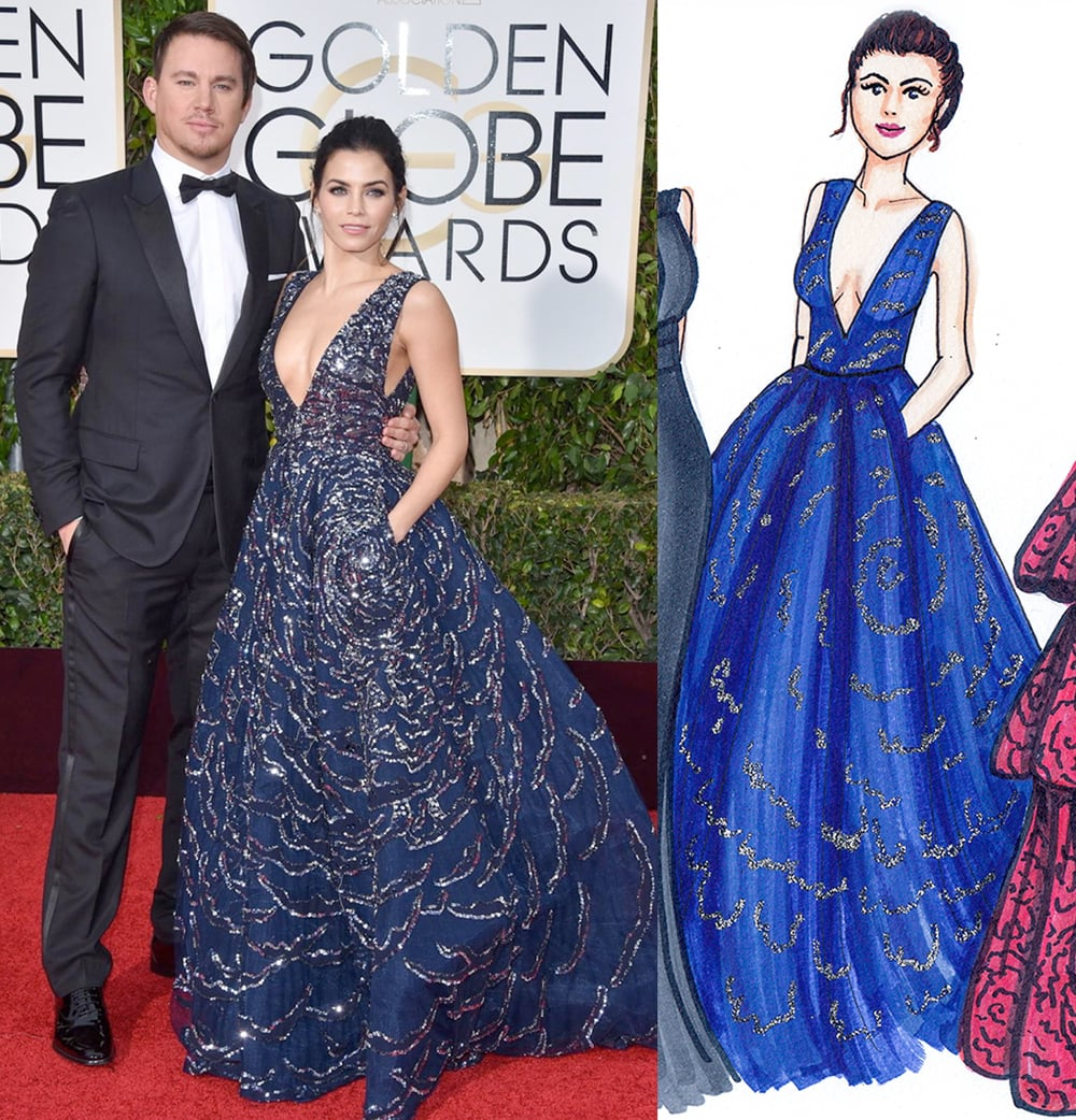 Jenna Dewan Tatum Golden Globes by Dally Creativity Co. Artist Marissa MacLeod