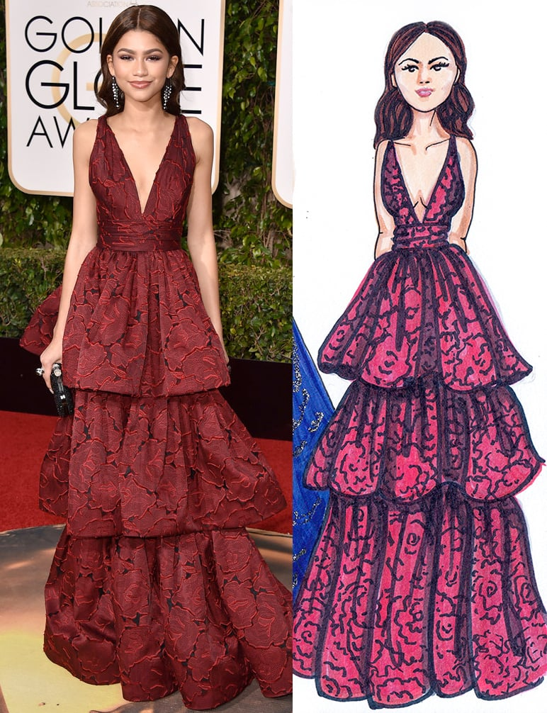 Zendaya in Marchesa at Golden Globes by Dally Creativity Co. Artist Marissa MacLeod