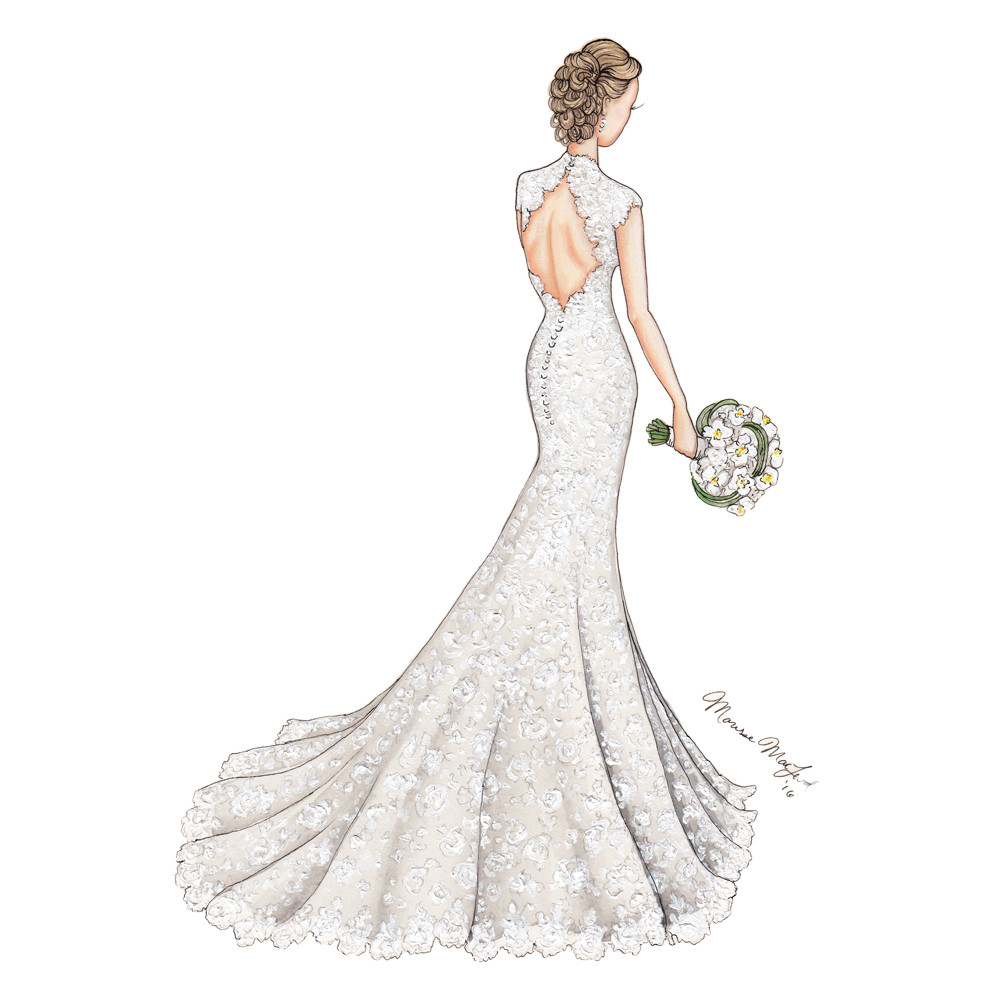 Lace Wedding Gown Illustration by Marissa MacLeod of Dally Creativity Co..