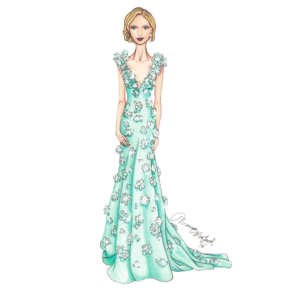 Cate Blanchett Oscars 2016 Illustration by Marissa MacLeod of Dally Creativity Co.