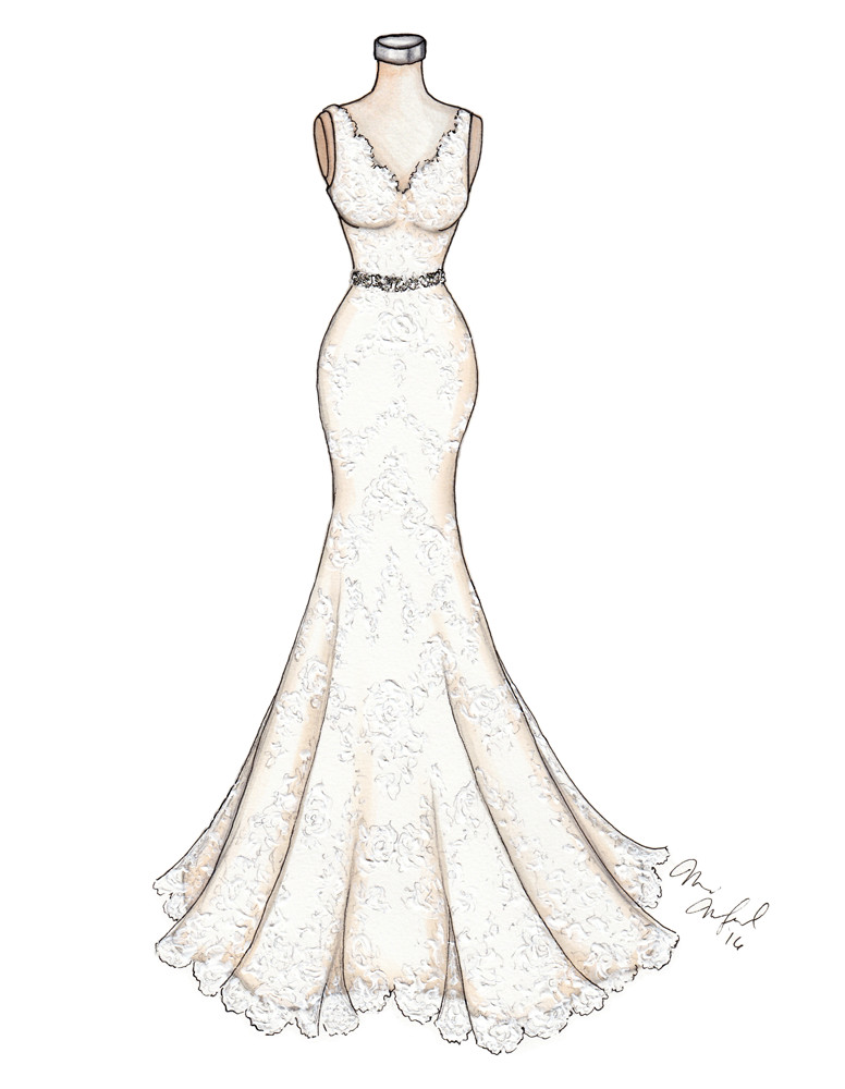 Monique Lhuillier Bliss Lace Wedding Gown Illustration by Marissa MacLeod of Dally Creativity Co.