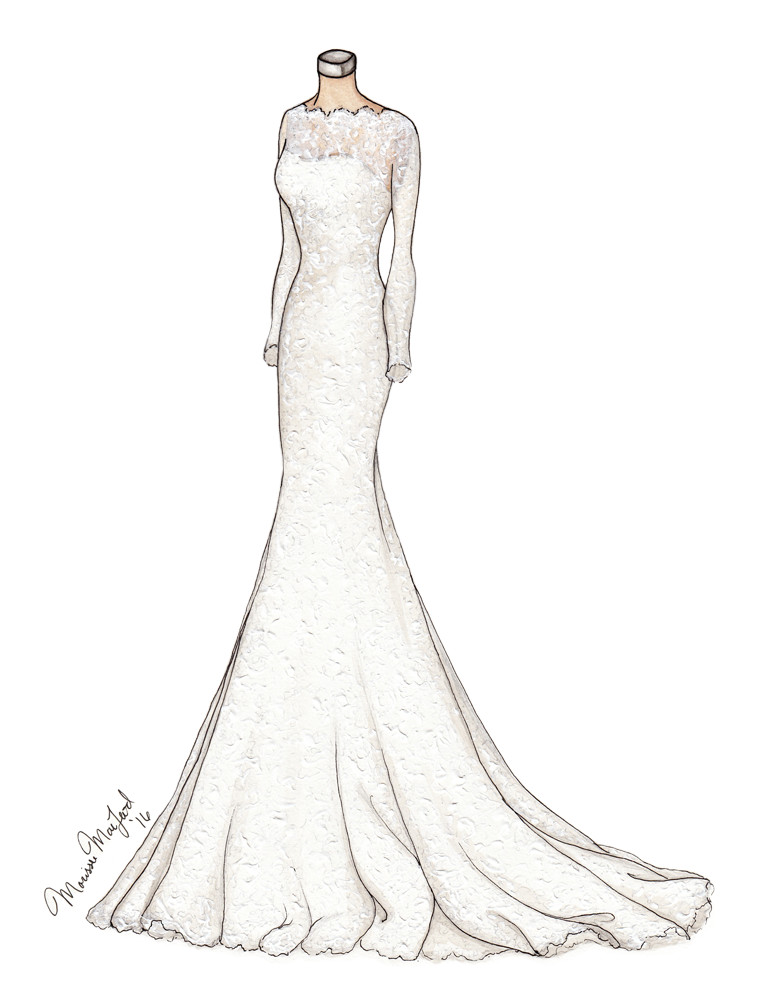 Alyne Bridal Custom Lace Wedding Gown Illustration by Marissa MacLeod of Dally Creativity Co.