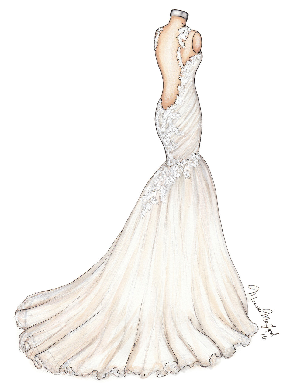 Ines Di Santo Rome Lace Wedding Gown Illustration by Marissa MacLeod of Dally Creativity Co.