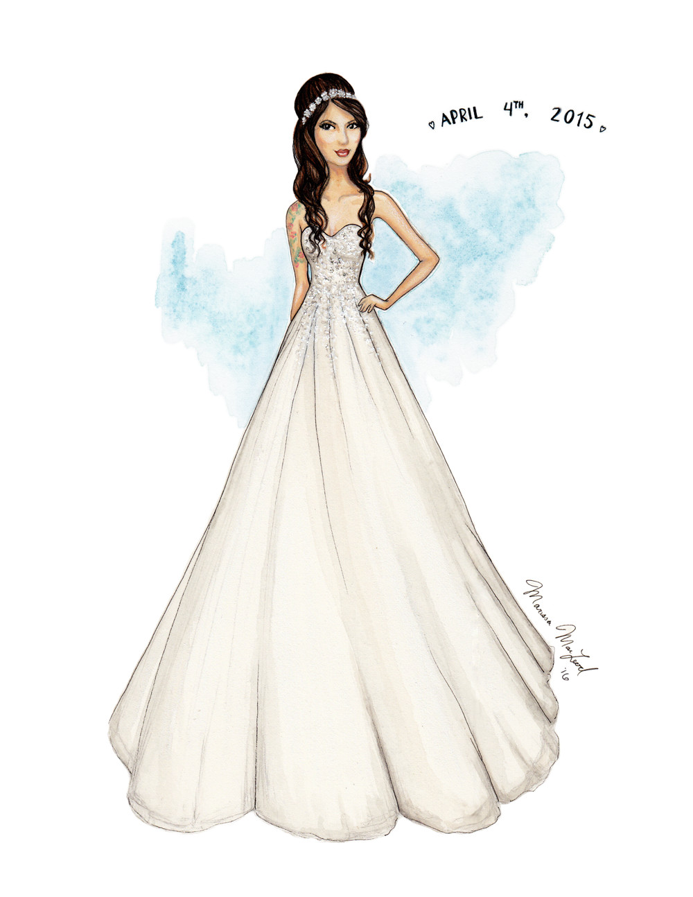 Custom Wedding Gown Illustration by Marissa MacLeod of Dally Creativity Co.