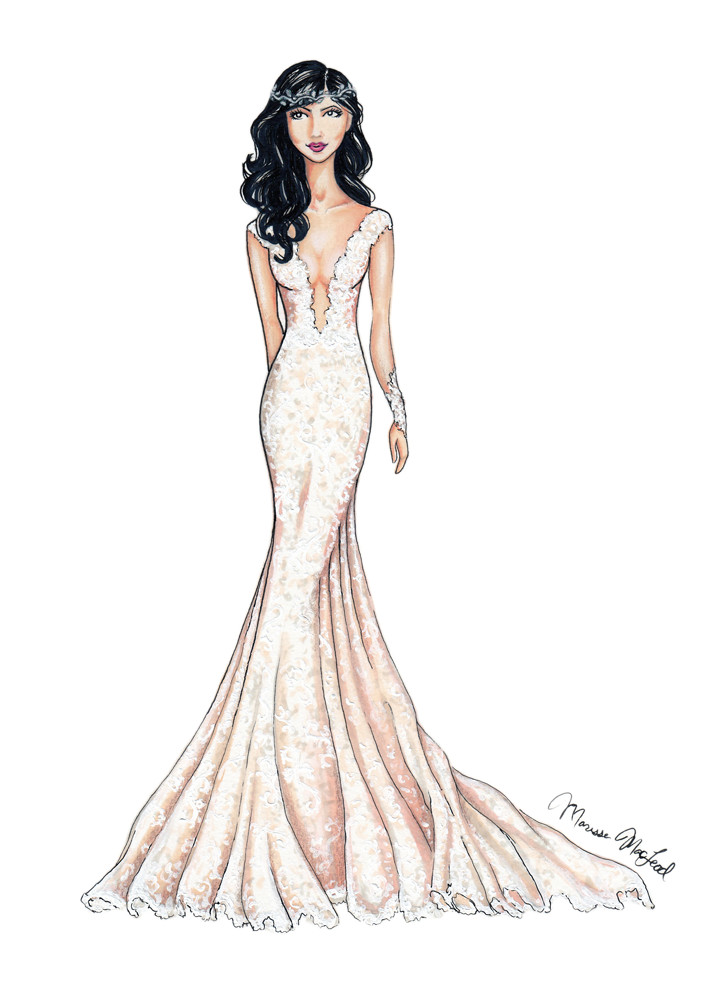 Ines Di Santo Lace Wedding Gown Illustration by Marissa MacLeod of Dally Creativity Co.