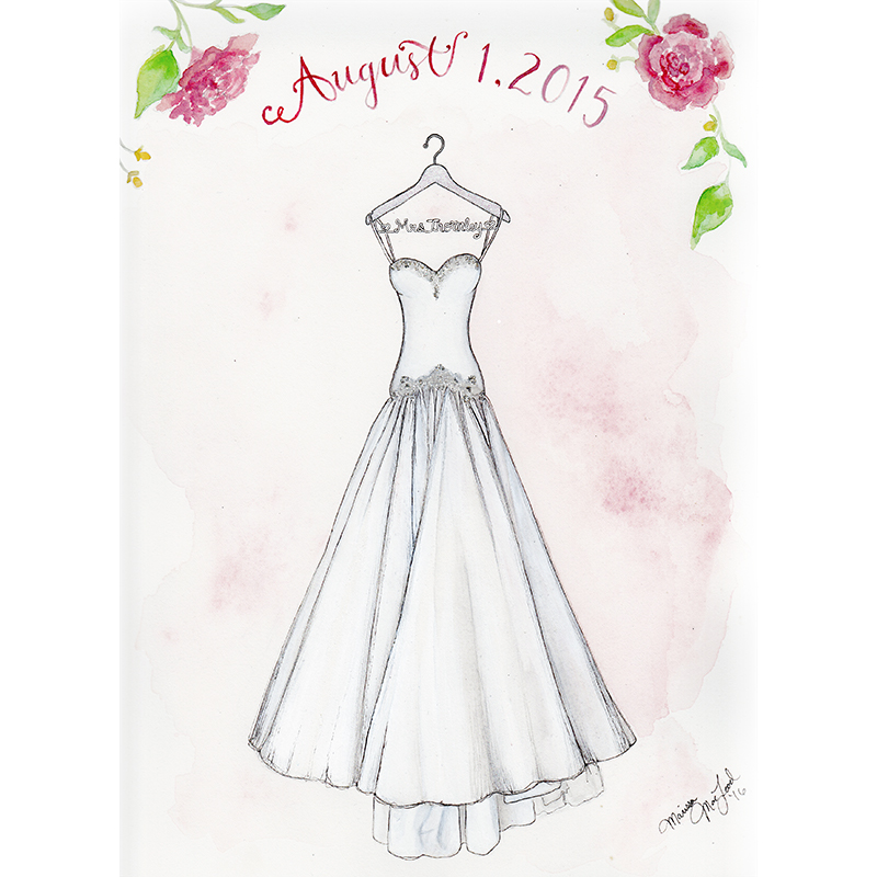 Custom Bridal Gown Illustration by Marissa MacLeod of Dally Creativity Co.