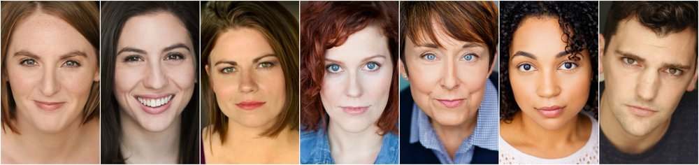 The Cast of IN THE WAKE: (from left to right) Alison Plott; Rose Sengenberger; Erin O'Brien; Adrienne Matzen; Kelli Walker; Samantha Newcomb; and Mike Newquist.