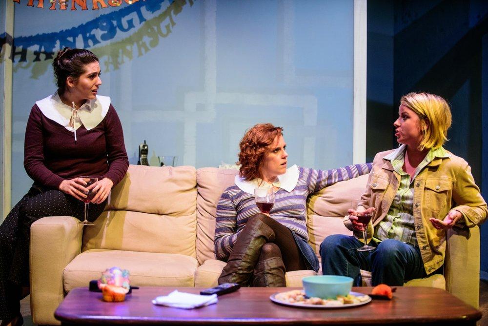 Rose Sengenberger (Ellen), Adrienne Matzen (Kayla), and Erin O'Brien (Laurie). Photo by Paul Goyette.
