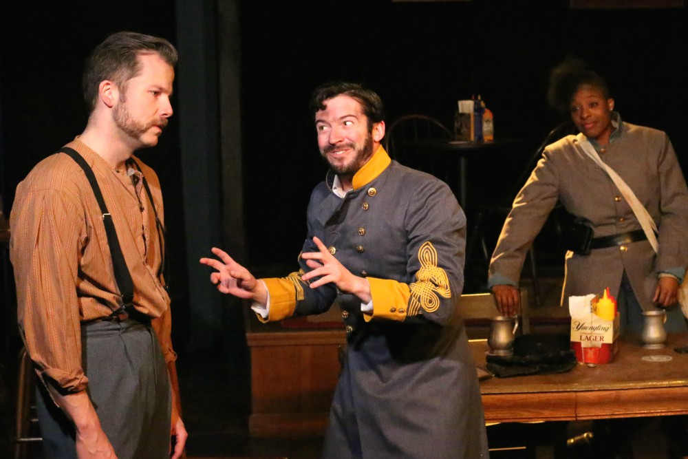 Eric Lindahl (Tom), David Coupe (Cal), and Stephanie Mattos (Leah). Photo by Cody Jolly.