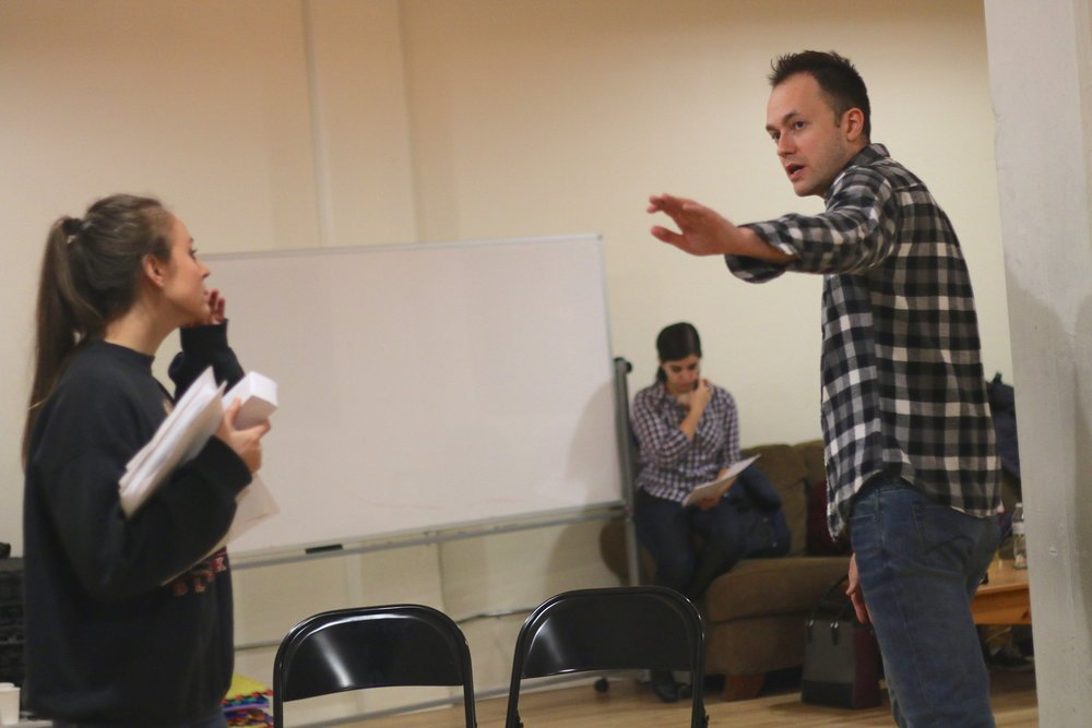 Jenna Liddle and Derek Bertelsen in rehearsal for  Mary-Kate Olsen Is In Love . Photo by Cody Jolly.