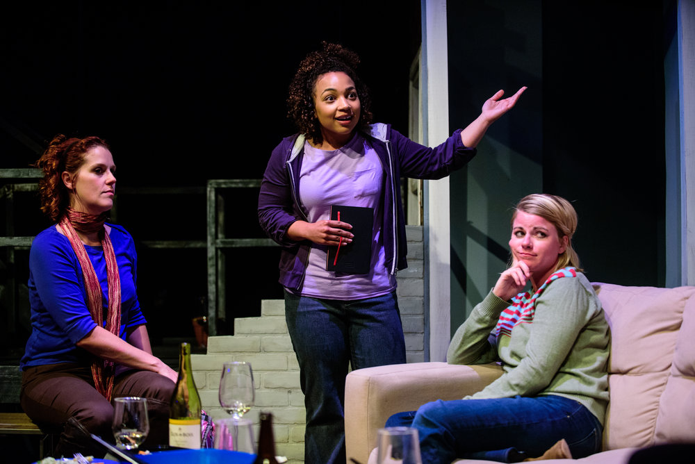 Adrienne Matzen, Samantha Newcomb, and Erin O'Brien in  In The Wake . Photo by Paul Goyette.