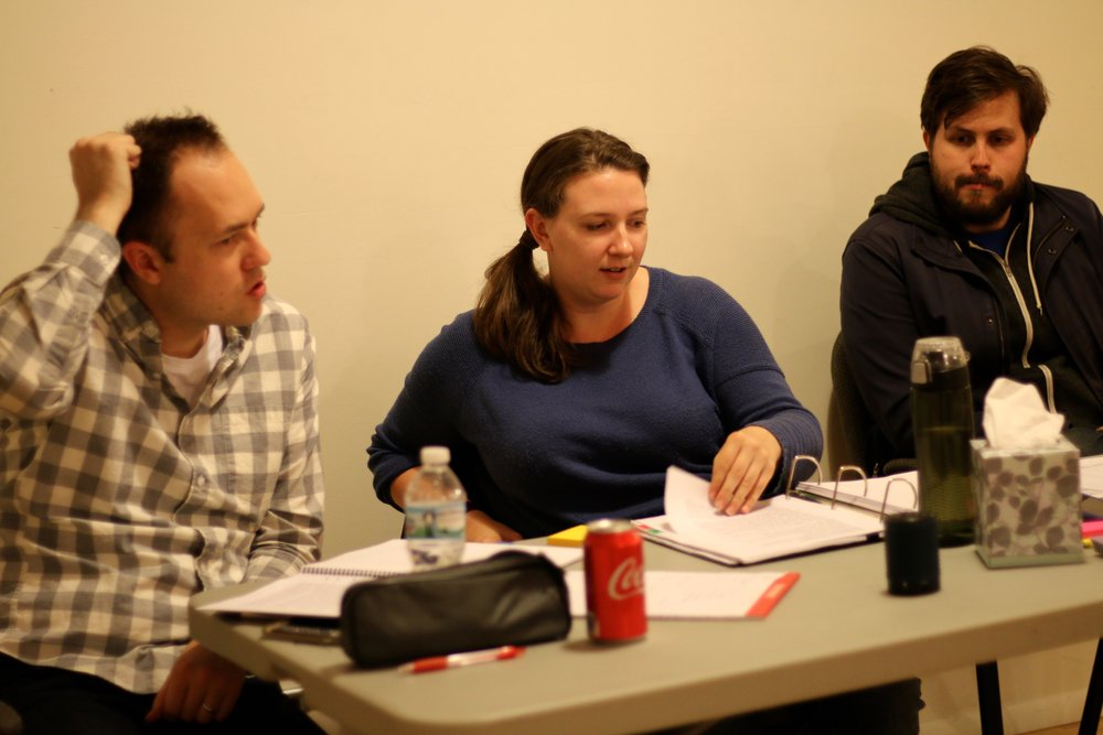 Derek Bertelsen, Melanie Kulas, and Will Quam in rehearsal for  BOB: A Life In Five Acts . Photo by Cody Jolly.