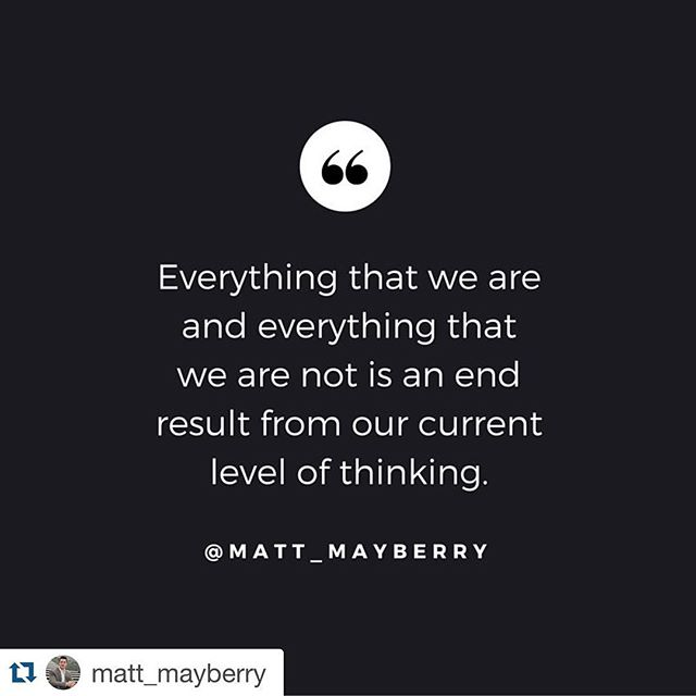 #Repost @matt_mayberry with @repostapp. ・・・ I have never met a high achiever who lacked in their level of thinking. Our feelings, emotions, professional success and happiness levels are all affected by our thinking and what takes place on a daily basis from the neck up.