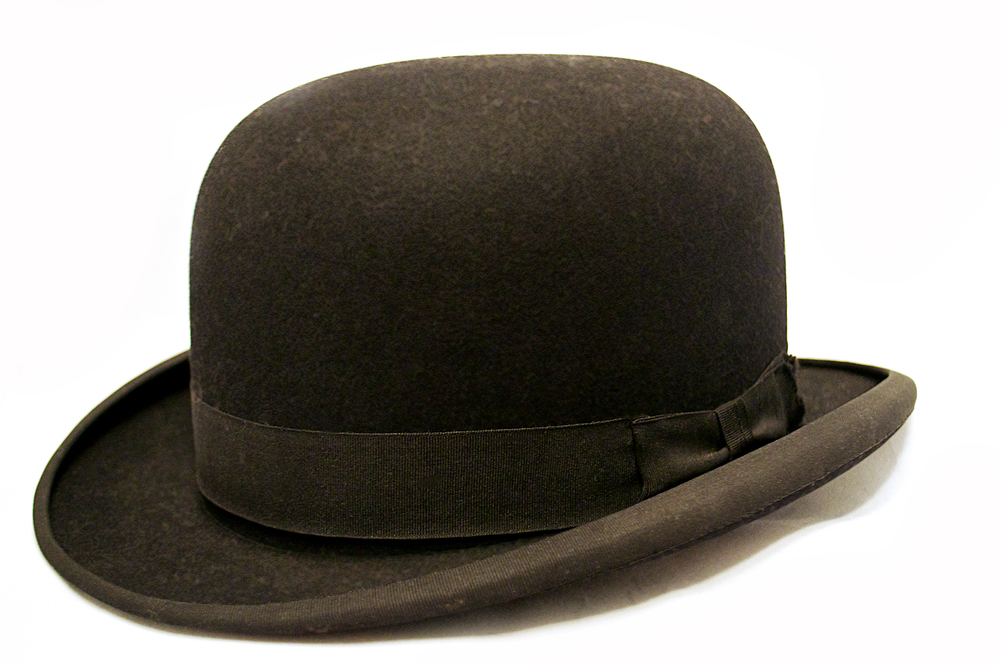 Black silk derby hat, 1930s, American.
