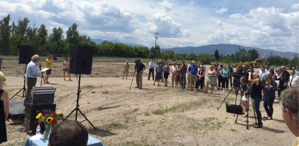 (Groundbreaking ceremony at the Old Sawmill District. Click to enlarge.)