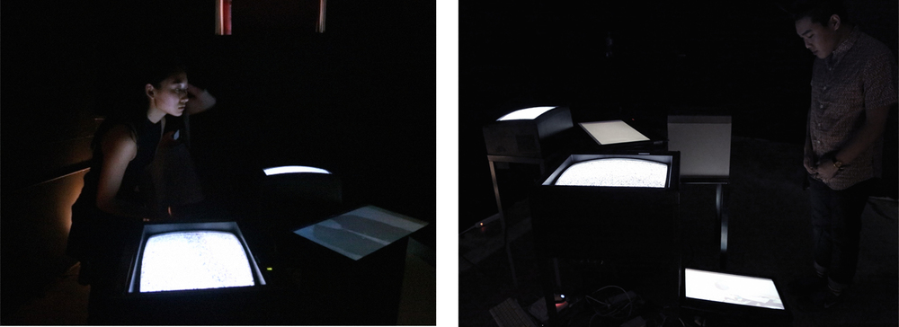 Feedback  Collaborative Piece by Annetta Urmey and Jacqueline Lin   Live delayed video feed, CRT Tables   April 2015