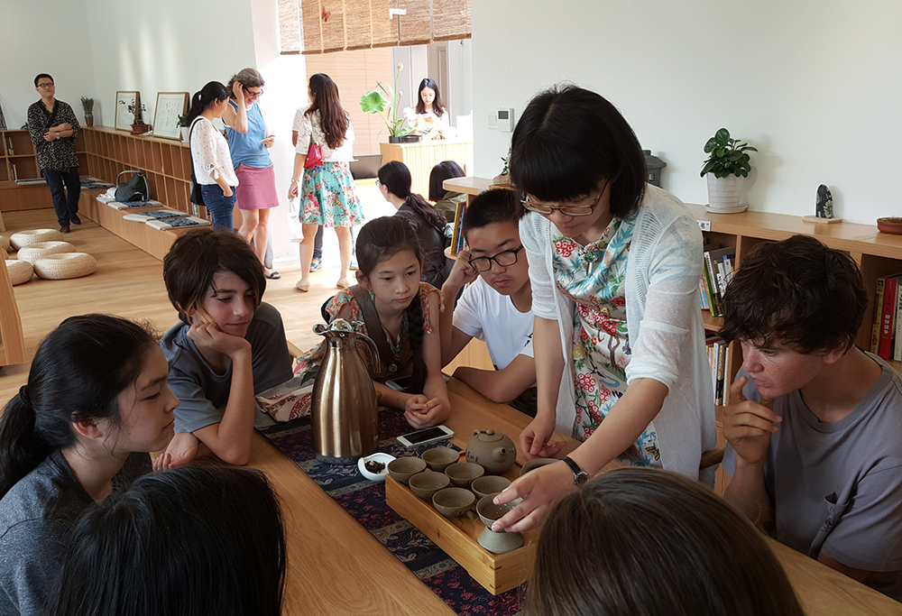 Tea ceremony demonstration at the Ying Zhou Book Garden in Nanjing, China.
