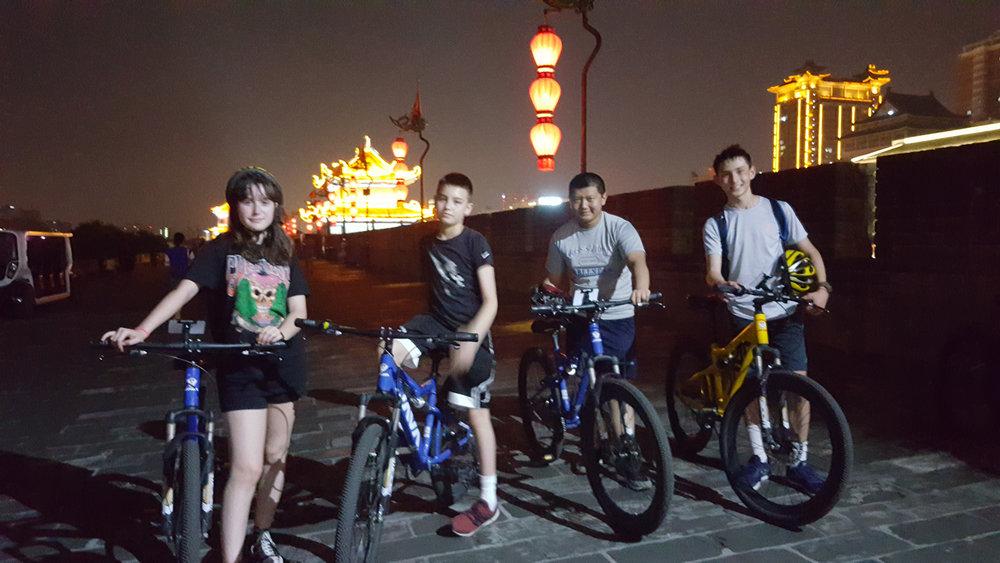 Night bike ride on the wall.