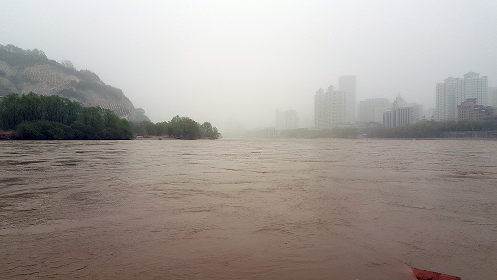 Overlooking the Yellow River from the Zhongshan Bridge of Lanzhou.