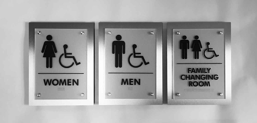 Stand Off Restroom Signs
