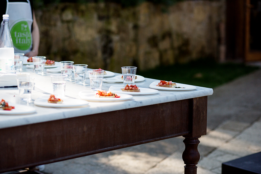 set table with bruschetta