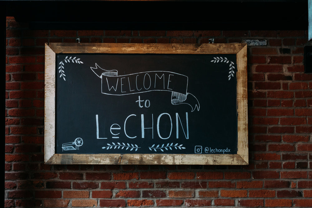 a sign welcoming the birthday celebrant to LeChon restaurant in downtown Portland