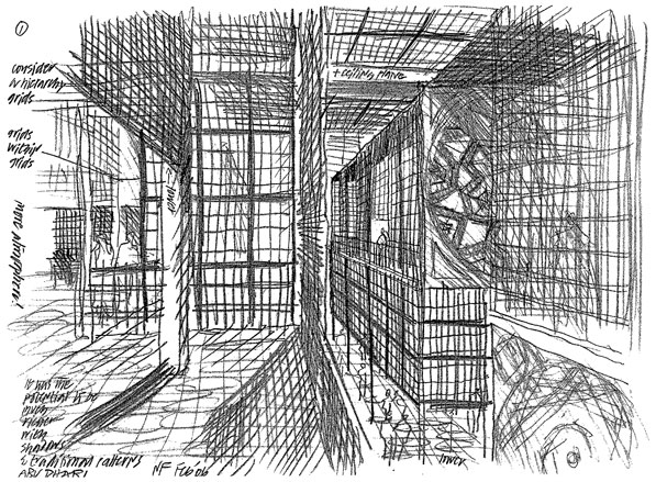 An architectural sketch in pencil by architect rafael vinoly