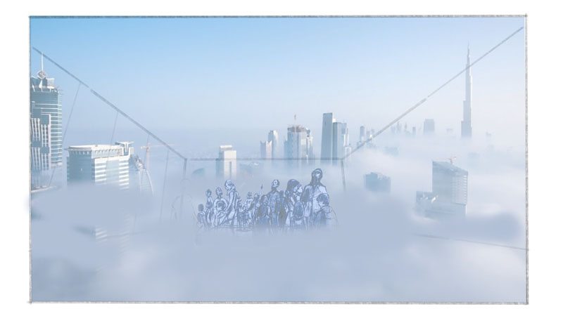 "Actual fog is used to bring magic to the idea of arriving 90 stories up ""above the clouds."""