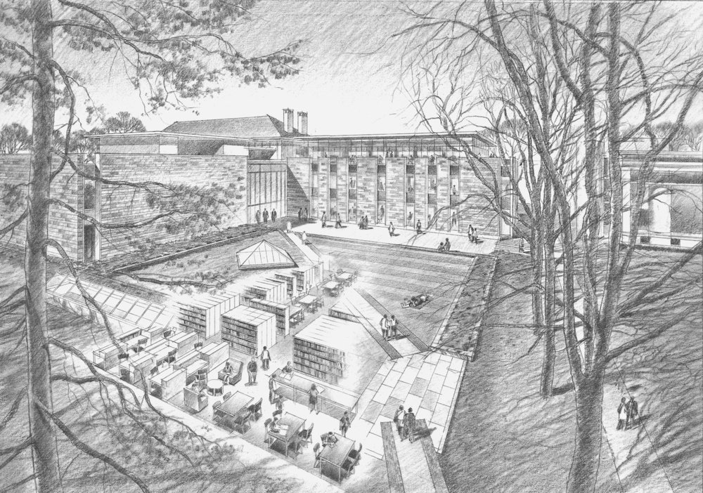 Concept sketch of a proposed library addition, Princeton University