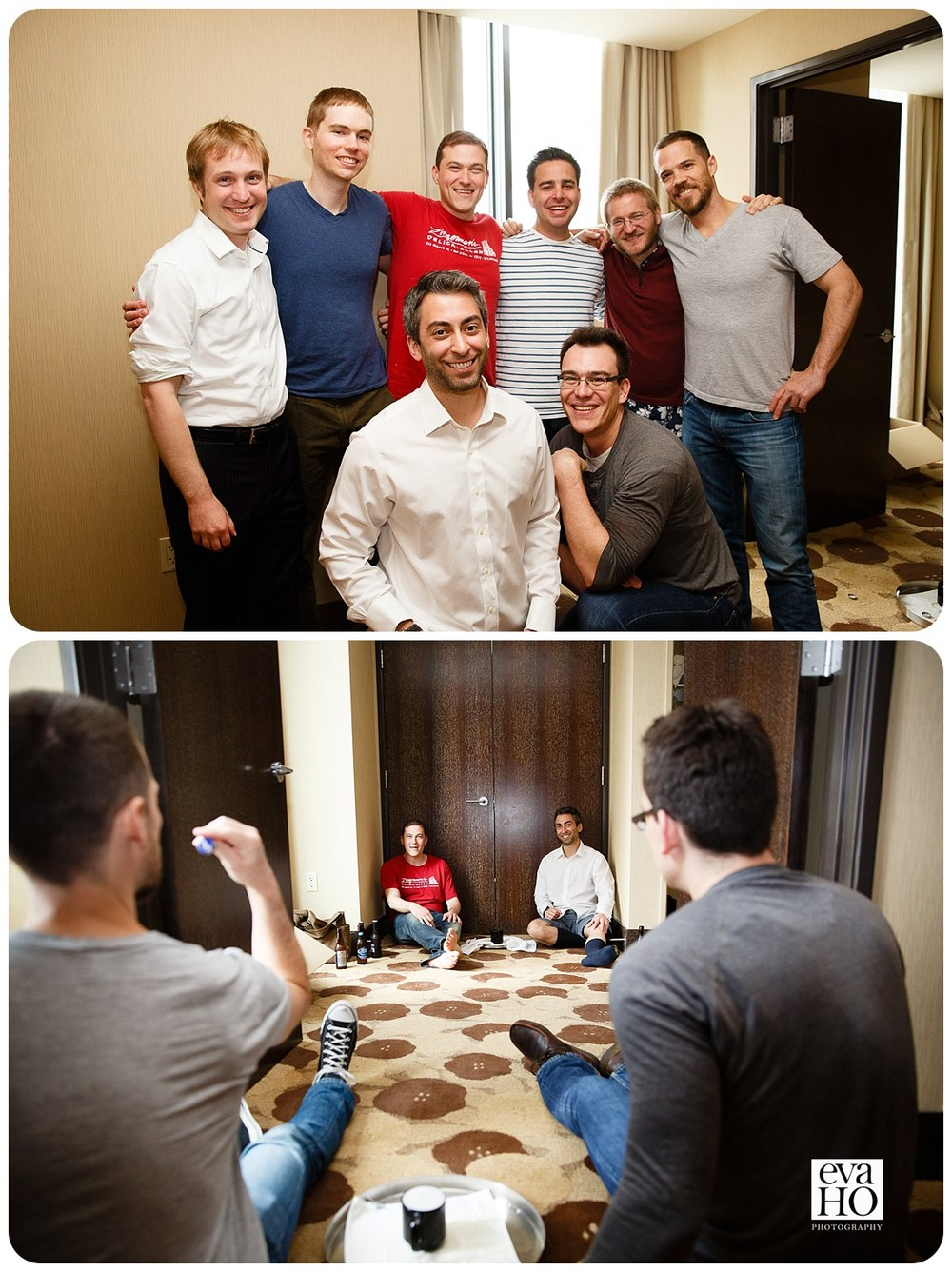Groom hanging out and playing beer pong with his groomsmen before the day of festivities start