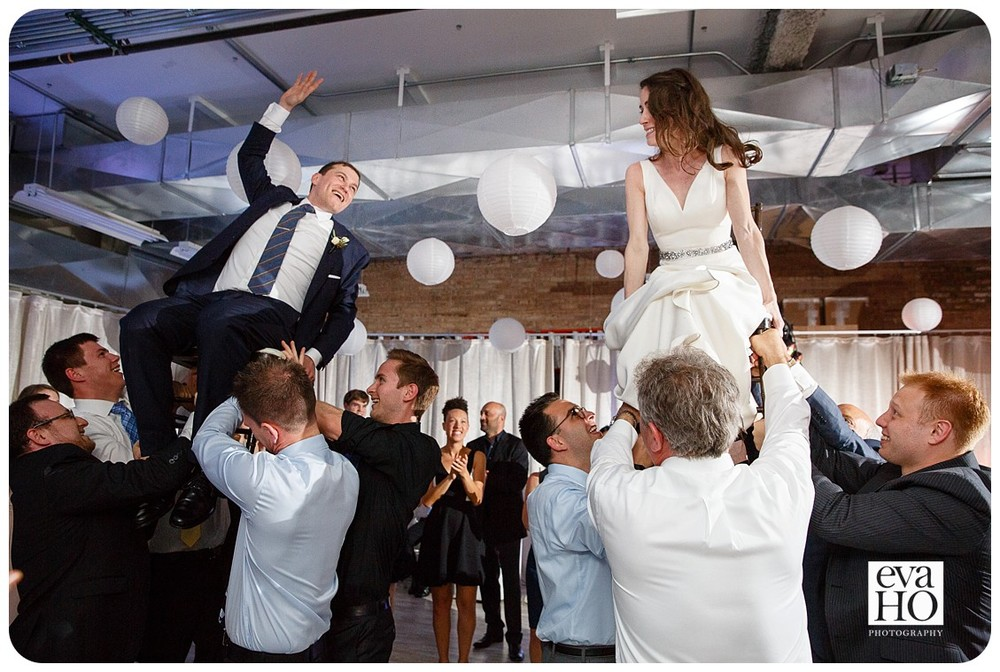 Bride and Groom were raised up high during the Jewish Chair dance (hora).