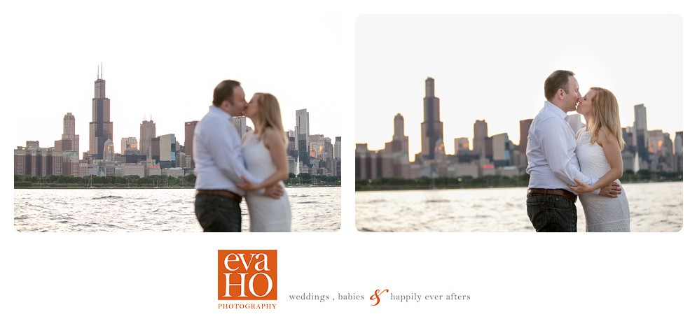 Love in the city (with Chicago skyline as their backdrop)
