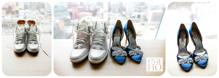 Mia's wedding day shoes collection includes a  pair of shiny sneakers and ornate jewel shoes