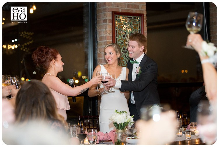 Newlyweds with guests at City View Loft