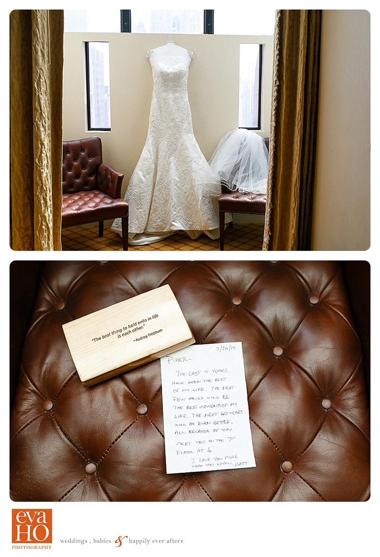 InterContinental Chicago Wedding Dress and Love Note