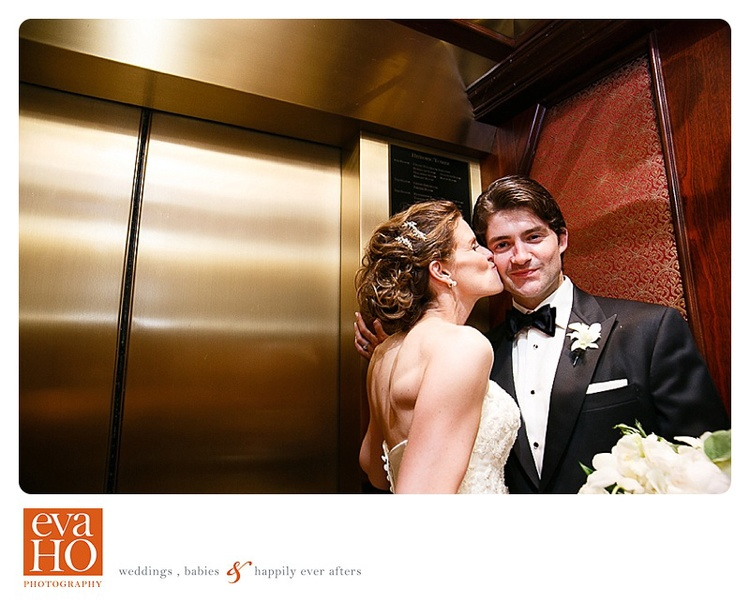 InterContinental Chicago Newly Weds Stole a Kiss in the elevator