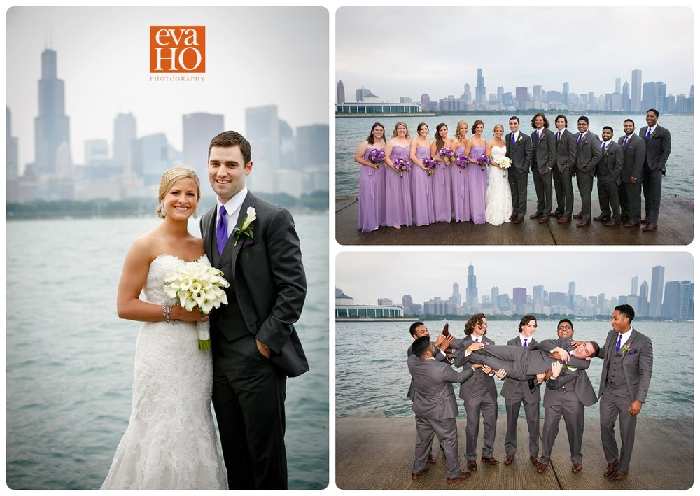 Chicago Lakefront at the Museum Campus makes a stunning backdrop of the wedding party photos