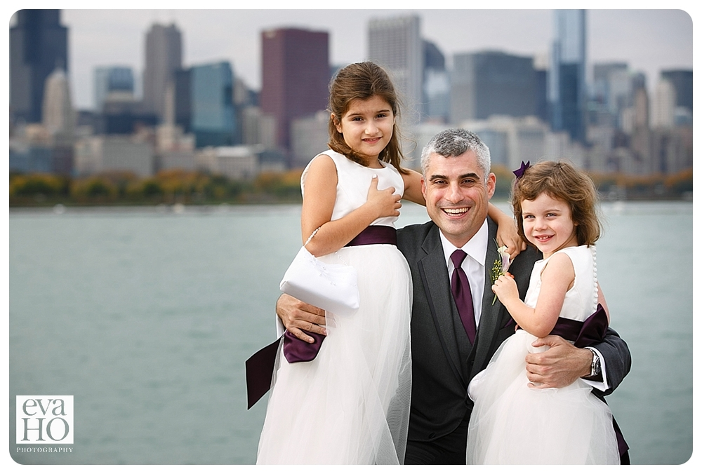 The groom and his daughters