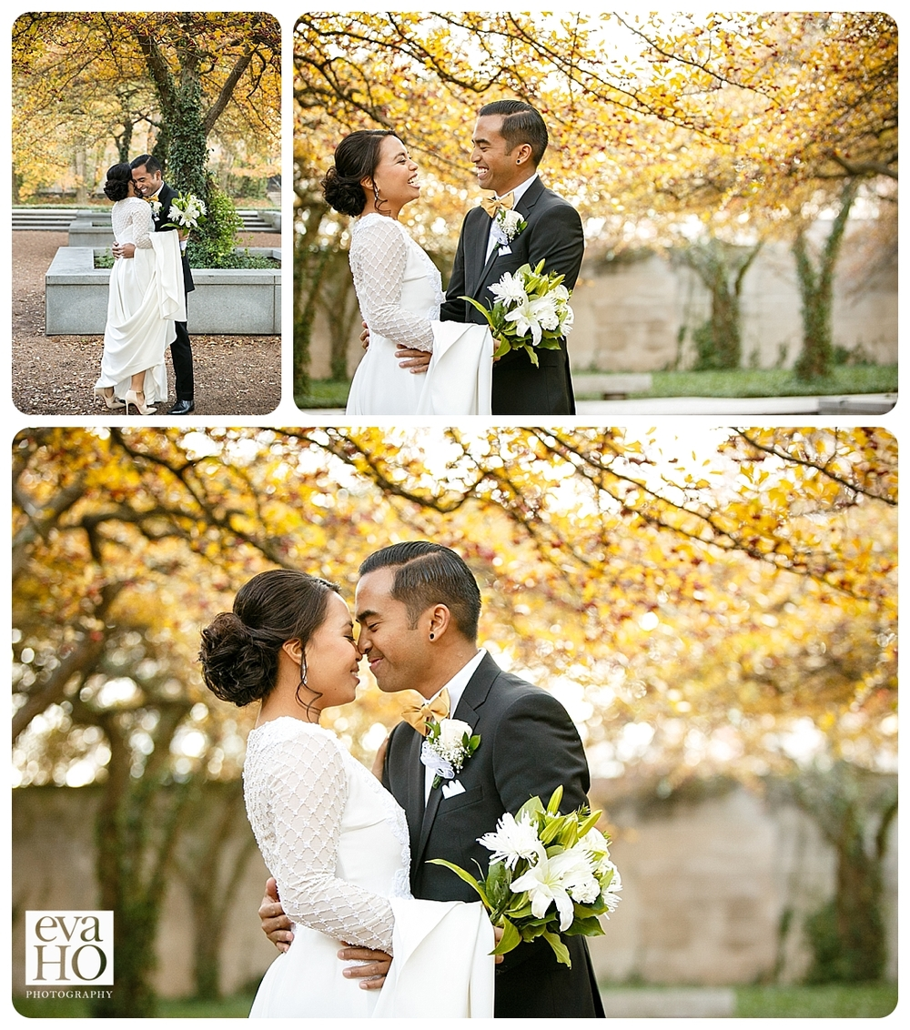 The changing fall leaves make for a beautiful backdrop for the bride and groom's first look!