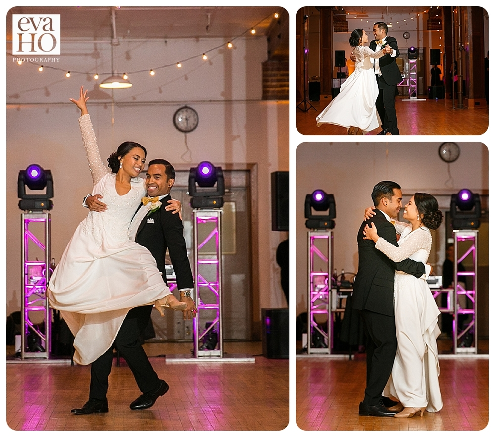 The bride and groom choreographed dances for their reception!