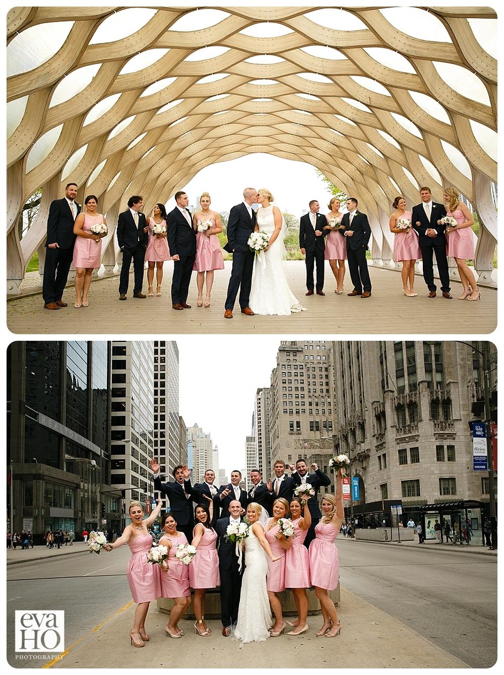 Chicago Downtown Michigan Avenue Bridal Party Portrait