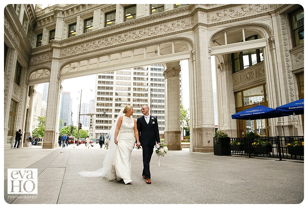 Chicago Wrigley Building Bride and Groom Strolling down the street