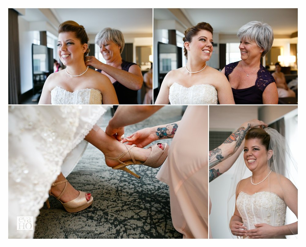 Westin Hotel Chicago Mother-of-the-bride Helping Bride to Get Ready