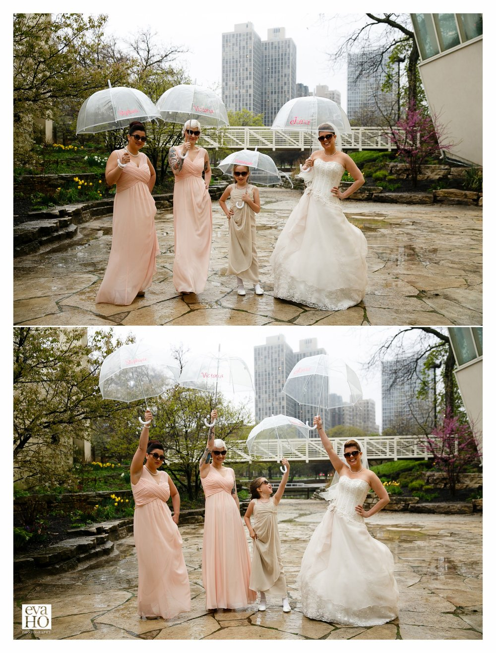 A little rain won't stop this fabulous wedding party!