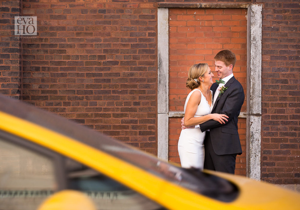 Chicago Urban Bride and Groom Portrait near Kinzie Bridge