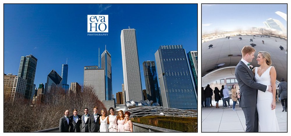 Chicago Downtown and Cloud Gate Wedding Portraits