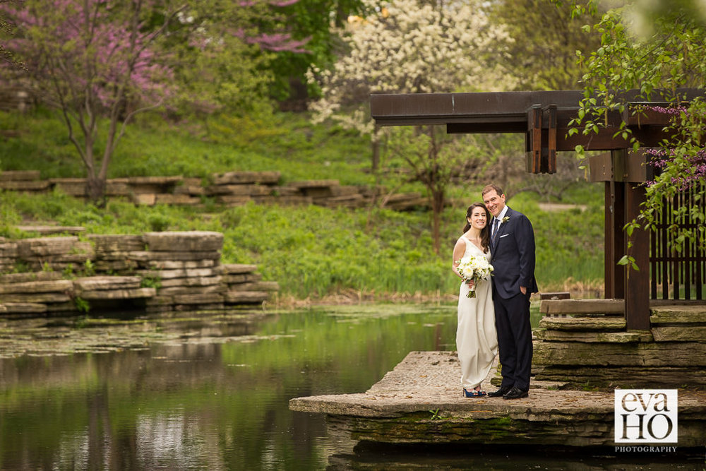 Lincoln Park Lily Pond Bride and Groom Portrait