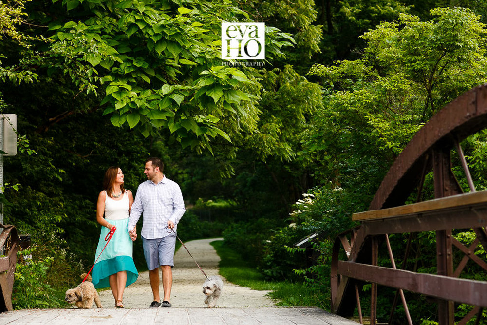 Morton Arboretum Engagement Session with Pupplies